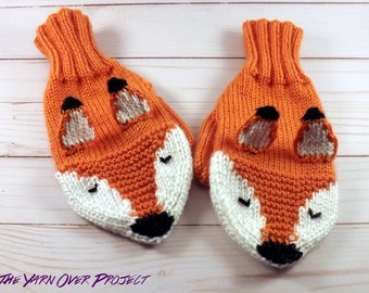 Hand-Knit Fox or Wolf Mittens - Children's Mittens - Knitted Mittens - Knit Animal Mittens - Knit Fox Mittens