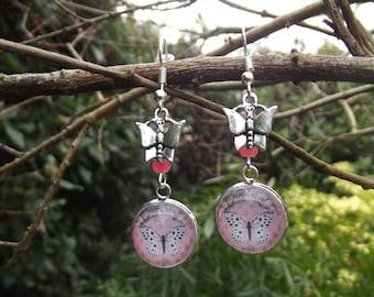 Earrings dangle Butterfly cabochon