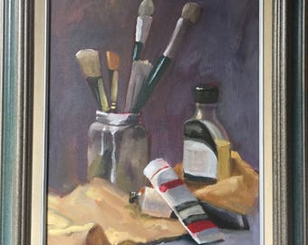 """Original oil on canvas, titled """"Tools"""". Size is 11x14."""