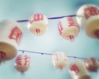 Chinese Lanterns Photo 5x5 Red and White Paper Lanterns Photography Print - Asian Decor Wall Art Photograph