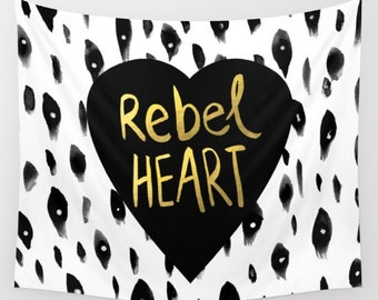 Rebel Heart Wall Tapestry- fabric wall hanging- typography-quote- heart- black, white and gold- dorm room decor- modern wall decor
