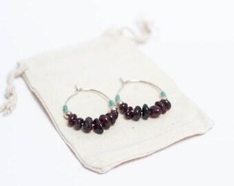 Hoop earrings silver, Garnet and Pearl miyuki