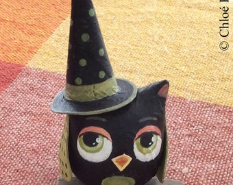 Mini OWL witch Halloween Black and green on a branch