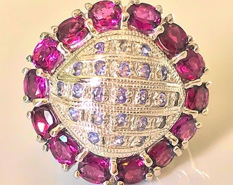 A Wonderful Tanzanite Rhodolite Garnet Ring Size 7