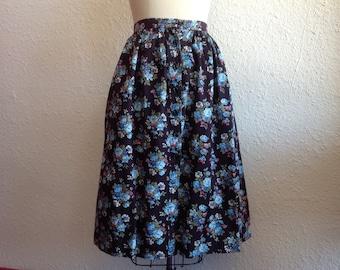 1950s black cotton floral skirt