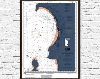 Burlington Vermont Art, Burlington Map, Nautical Chart Print, Burlington Print, Art, Burlington Vermont, Office Decor, Burlinton Map Art
