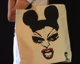 Divine Mouse hand painted tote bag