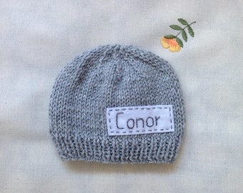 Newborn photo prop, grey newborn hat, personalized newborn hat with name, newborn boy, monogram baby hat, name beanie, newborn knit hats
