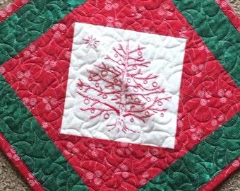 Tannenbaum Redwork Quilt Pillow Cover