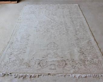 5'4''x 9'6'' Large Area Rug , Turkish Oushak Carpet , Handknotted Vintage Rug