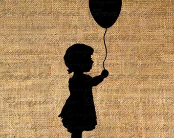 Silhouette Sweet Little Girl With Balloon Digital Image Download Sheet Transfer To Pillows Totes Tea Towels Burlap No. 4313