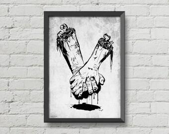Till death do us part, skull, bone, black and  white, creepy, horror, blood, goth, art, poster