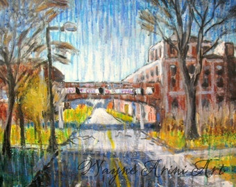 Urban Industrial Expressionist Detroit Packard Plant Original Acrylic 16 x 20 Painting