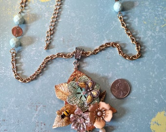 Bohemian Flower Assemblage Necklace / Faith & Hope Flower Necklace with Butterfly/Bee/ Recreated Vintage Jewelry/ Assemblage Necklace