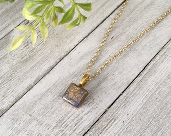 Hand Sculpted and Painted Polymer Clay and Resin Lilac, Periwinkle and Gold Small Pendant Necklace