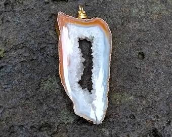 Natural gemstone pendant - Chalcedony Druzy