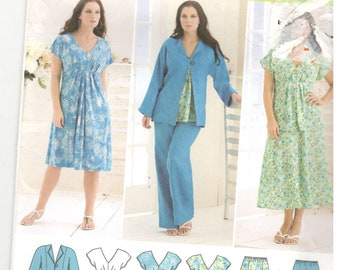 Simplicity 2660 Size 20w, 22w, 24w, 26w, 28w.  Plus size pattern: Empire waist dress and top with cap sleeves, 6 gored skirt, jacket, pants