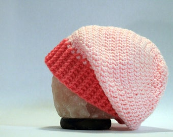Hand Crocheted Slouch Beanie - Pink