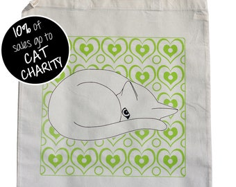 SLIGHT SECONDS: Cat and Green Hearts Tote Bag - Cute Cat Tote