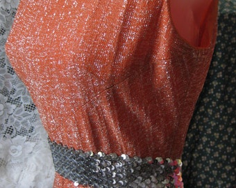 1960s Metallic Orange dress, SILVER METALLIC threaded Orange dress