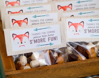 Fox Woodland Party Favors - Goodie Bag Toppers, Fox Baby Shower, Fox Party, Woodland Party, Thank you tags, Treat Bags | Instant Download