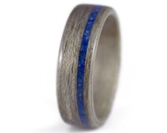 Mens Wood Wedding Band - Gray Maple & Lapis Lazuli