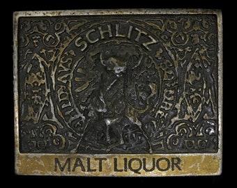 Vintage Schlitz Malt Liquor Bull Beer Bar Club Partying Bottle Opener Belt Buckle