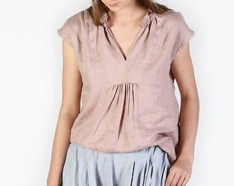 Basic linen top, Linen blouse, Linen top, Minimal top, Minimal linen blouse, Washed linen blouse, Linen, Linen clothes for woman blouse IRIS