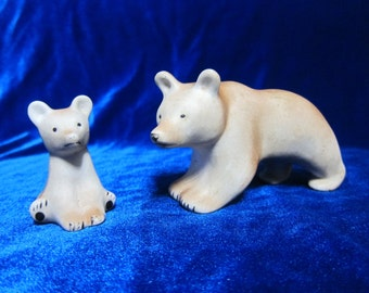 Vintage   Figurine 2 Bears Small ceramic