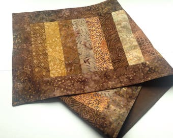 Brown and gold batik table runner