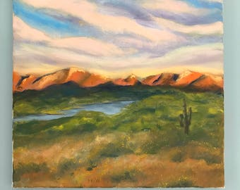 Original Oil Painting, Original Landscape Painting, Desert Landscape, Southwest Art, Modern Art, wrapped canvas, Original Art