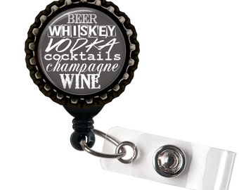 Happy Drinker - Black Retractable Badge Reel ID Holder