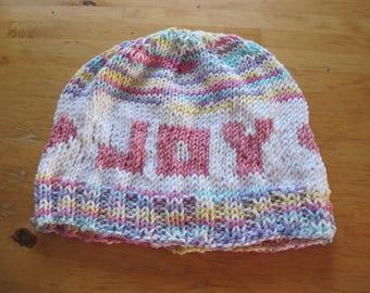 Womens Joy and Hearts Handknit Cotton Cap Multi-colored