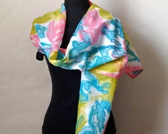 Silk Scarf Sky Blue, Salmon Pink, Leaf Green, Hand Painted Silk, 14x69 inches, Summer Scarf, Silk Scarf, Gift for Woman, Mother's Day Gift
