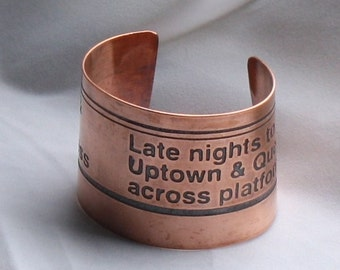 Copper Cuff Bracelet - Uptown and Queens Subway