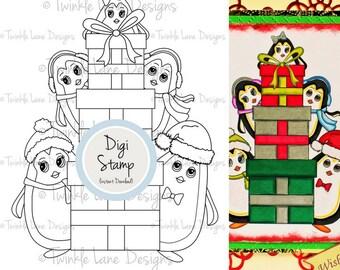 Cute Penguin Clipart, Digi Stamp, Black and White, Digital Stamp, Christmas Gift, Christmas, Christmas Clipart, Winter, Festive, Papercraft