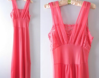 Vintage 60s Nightgown M | 1960s Coral Pink Chiffon Bodice Gown Nightgown
