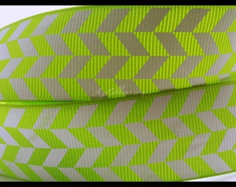 "Lime Green and White Geometric Pattern Herringbone Print Grosgrain Ribbon 1"" Wide Scrapbooking HairBows Parties DIY Projects AZ123"