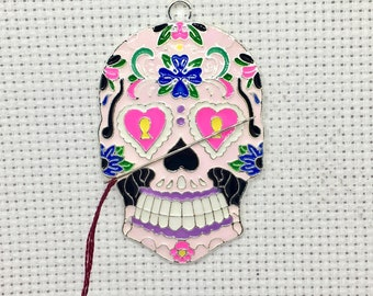 Skull Needle Minder for Cross Stitch, Needlepoint Tool, Needle Holder, Crafter Gift, Embroidery Accessories,  Needlework Project, Magnet