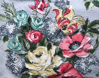 """Vintage Barkcloth Fabric Piece ~ Grey with Coral, Teal, Yellow & Green Flower Bouquet ~ 30"""" x 23"""""""