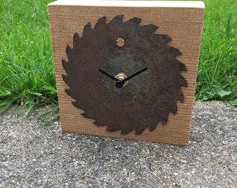 Hand Crafted Rustic Solid Pine Saw Blade Clock - Bedside - Desk - Wooden - Office Clock - Time Fly's when you having Fun!