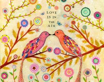 Bird Art - Bird Painting - Love Birds Collage Painting - Bird Folk Art - Mixed Media Bird Painting - Art Print