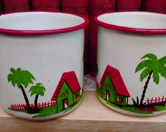 Enameled Cups 1940's Matched Pair with Beach design