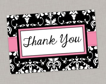 Thank You Card, Bridal Shower, Baby Shower, Birthday, Elegant, Damask, Printable