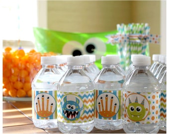 Little Monster Birthday Party Water Bottle Labels Favors - Printable DIY