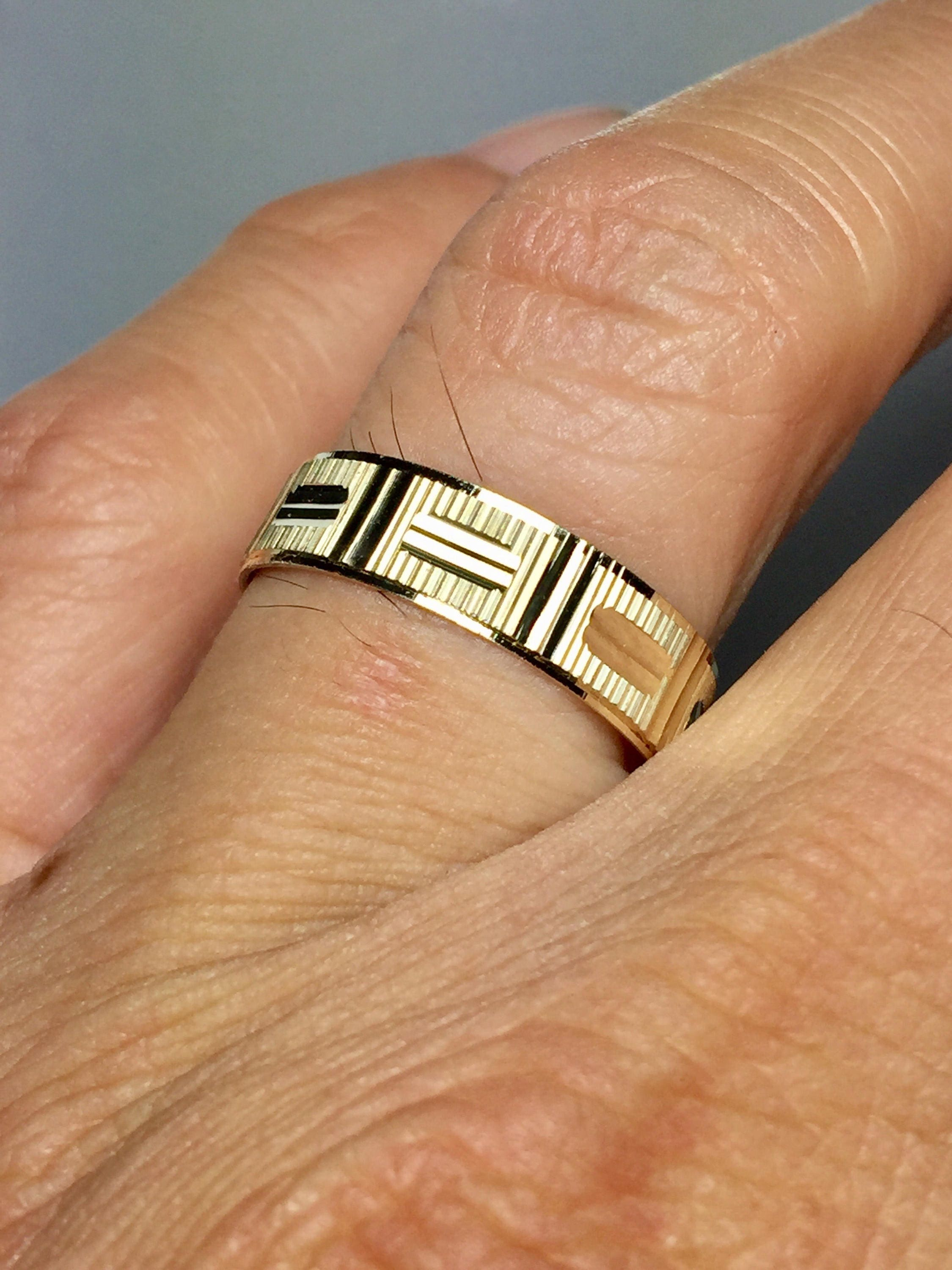 gold chevron midi thumb rings solid real pin ring