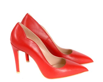 Women Red Genuine Leather Pumps by Galdi, 18132-359