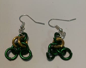 Green and gold aluminum earrings