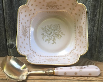 French Antic, Fruit Salad Bowl, Applesauce Dish with Serving Spoon, Limoges Porcelain, Shabby Chic
