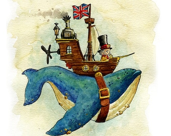 Cutepunk Whaleship Watercolor Print